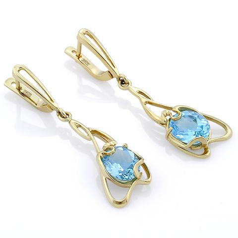 b32062fb880c Серьги с голубым топазом из золота