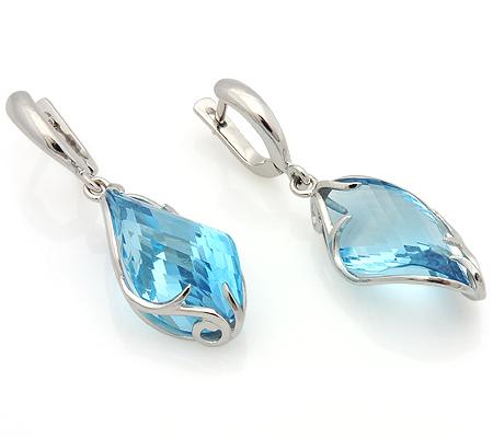 b45e24ff3481 Серьги с голубым топазом из белого золота