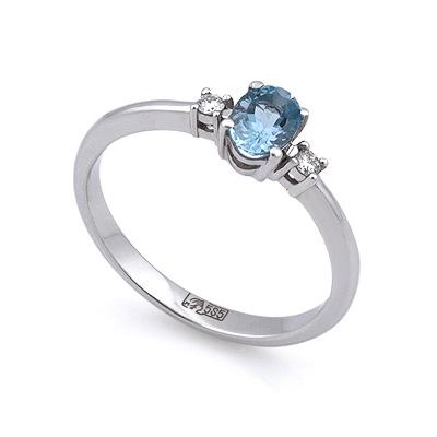 Кольцо с аквамарином и бриллиантами из белого золота 2.3 г SL-0213-1AQW
