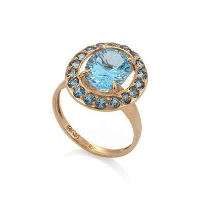 67f5e4d21663 Кольцо с топазом (голубыми) - ювелирные украшения магазина Oromio в ...
